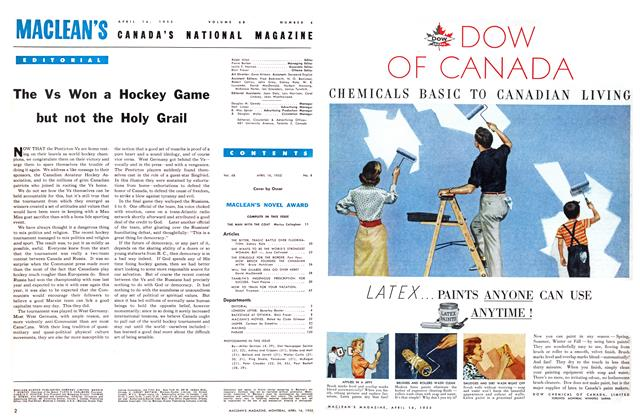 Article Preview: The Vs Won a Hockey Game but not the Holy Grail, April 1955 | Maclean's