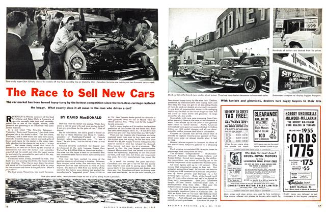 Article Preview: The Race to Sell New Cars, April 1955 | Maclean's