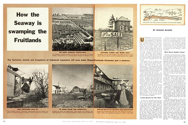Article Preview: How the Seaway is swamping the Fruitlands, May 1955 | Maclean's