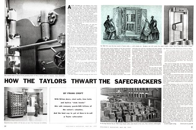 Article Preview: HOE THE TAYLORS THWART THE SAFECRACKERS, May 1955 | Maclean's