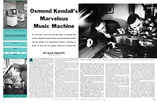 Article Preview: Osmond Kendall's Marvelous Music Machine, June 1955 | Maclean's