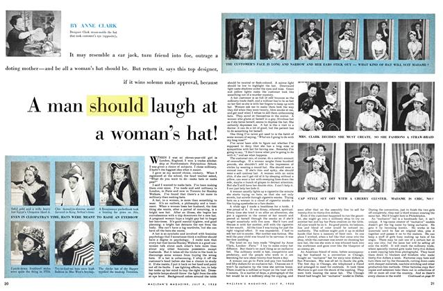Article Preview: A man should laugh at a woman's hat!, July 1955 | Maclean's