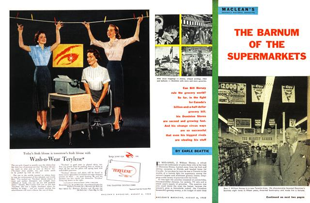 Article Preview: THE BARNUM OF THE SUPERMARKETS, August 1955 | Maclean's