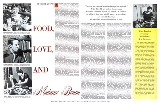 Article Preview: FOOD, LOVE, AND Madame Benoit, September 1955 | Maclean's