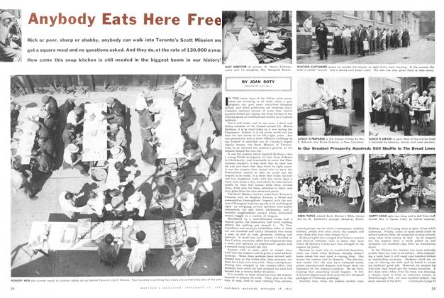 Article Preview: Anybody Eats Here Free, September 1955 | Maclean's