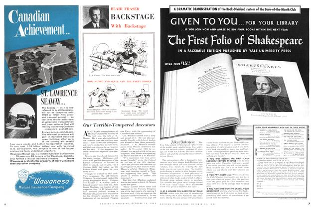 Article Preview: BACKSTAGE With Backstage, October 1955 | Maclean's
