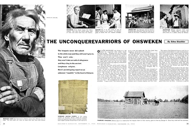 Article Preview: THE UNCONQUERED WARRIORS OF OHSWEKEN, November 1955 | Maclean's