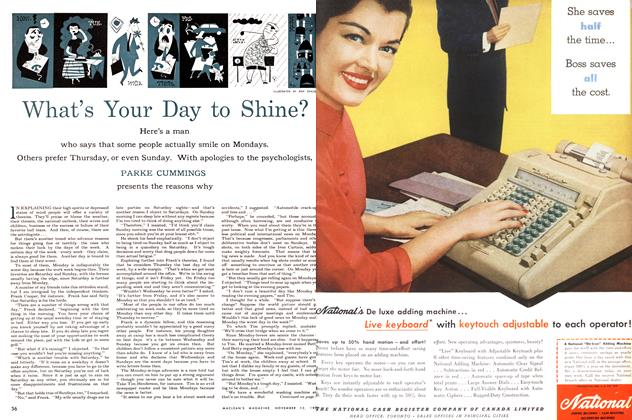 Article Preview: What's Your Day to Shine?, November 1955 | Maclean's