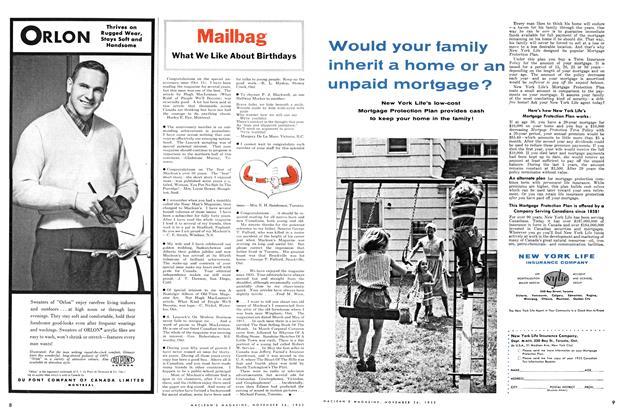 Article Preview: Mailbag, November 1955 | Maclean's