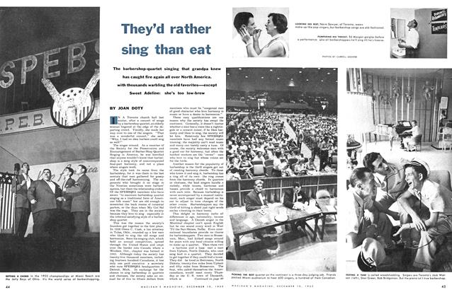 Article Preview: They'd rather sing than eat, December 1955 | Maclean's