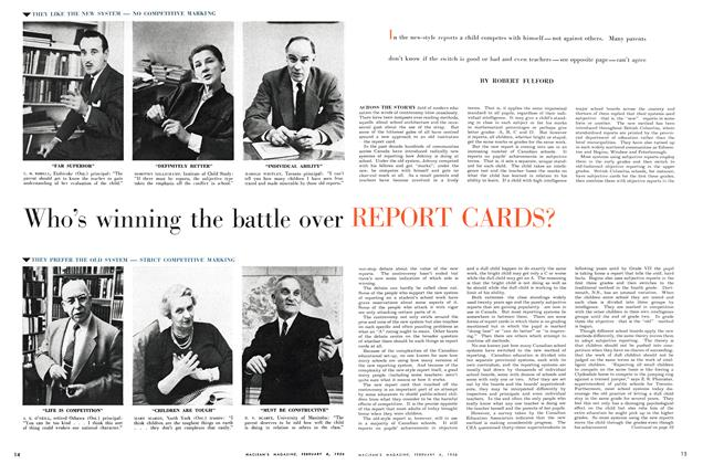 Article Preview: Who's winning the battle over REPORT CARDS?, February 1956 | Maclean's