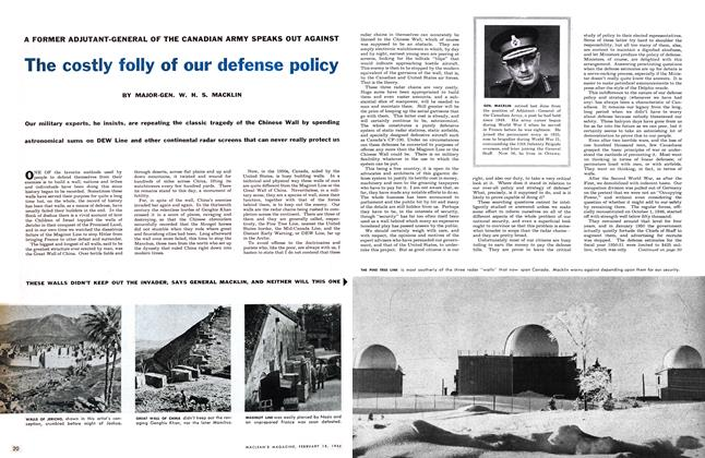Article Preview: The costly folly of our defense policy, February 1956 | Maclean's