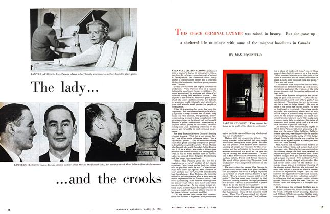 Article Preview: The lady and the crooks, March 1956 | Maclean's