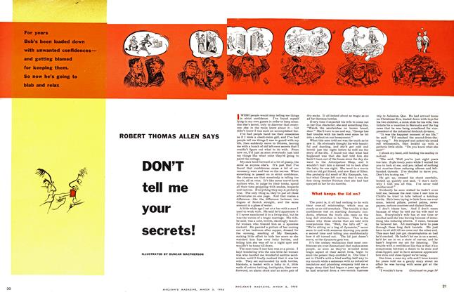 Article Preview: DON'T tell me your secrets!, March 1956 | Maclean's