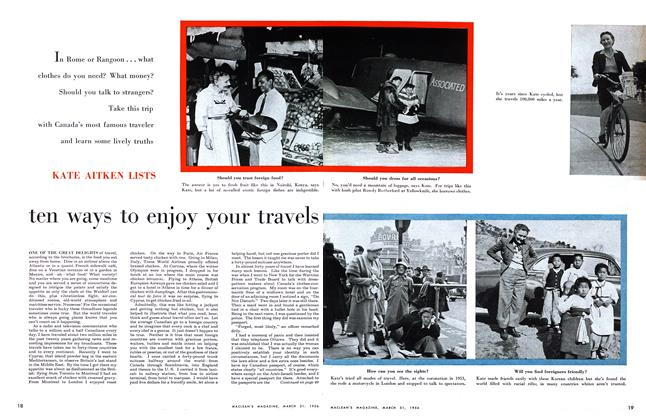 Article Preview: ten ways to enjoy your travels, March 1956 | Maclean's