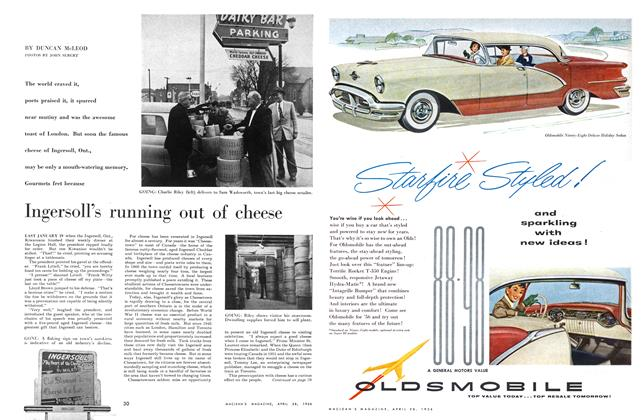 Article Preview: Ingersoll's running out of cheese, April 1956 | Maclean's