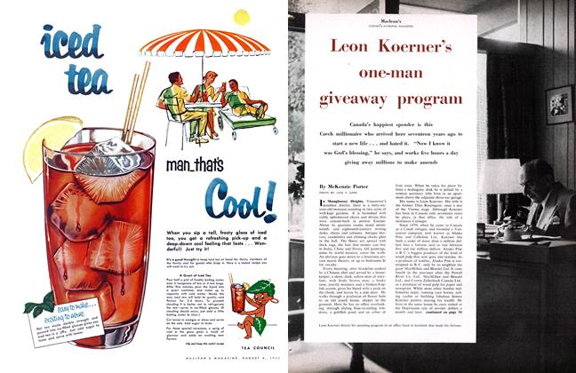 Article Preview: Leon Koerner's one-man giveaway program, August 1956 | Maclean's