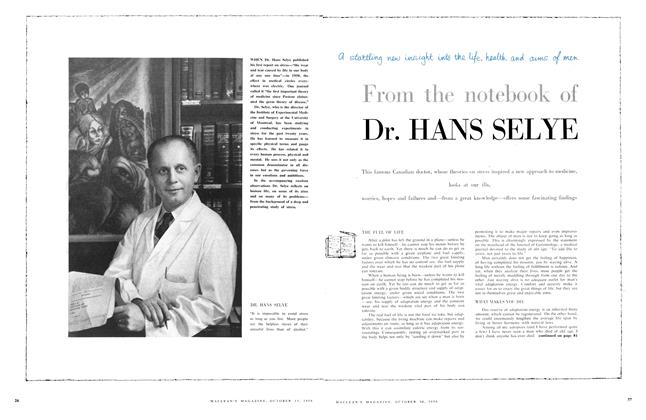 Article Preview: From the notebook of Dr. HANS SELYE, October 1956 | Maclean's