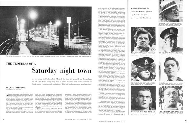 Article Preview: THE TROUBLES OF A Saturday night town, October 1956 | Maclean's