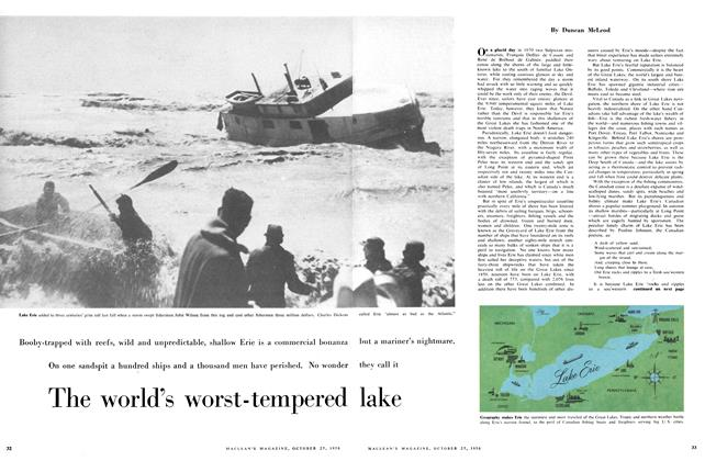 Article Preview: The world's worst-tempered lake, October 1956 | Maclean's