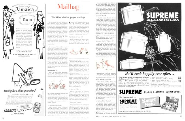 Article Preview: Mailbag, October 1956 | Maclean's