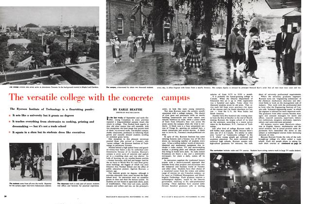 Article Preview: The versatile college with the concrete campus, November 1956 | Maclean's