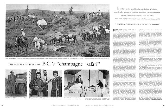 "Article Preview: THE BIZARRE MYSTERY OF B.C.'s ""champagne safari"", November 1956 