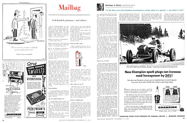 Article Preview: Mailbag, November 1956 | Maclean's