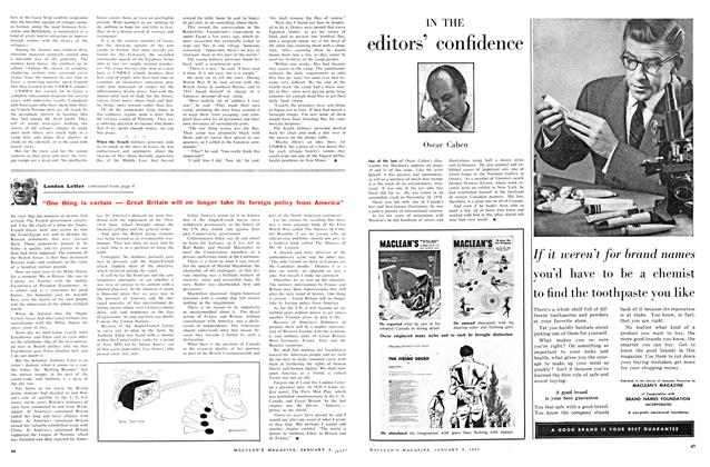 Article Preview: IN THE editors' confidence, January 1957 | Maclean's