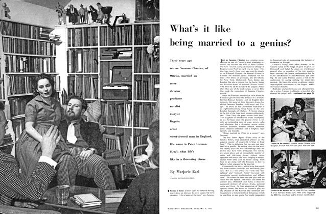 Article Preview: What's it like being married to a genius?, January 1957 | Maclean's