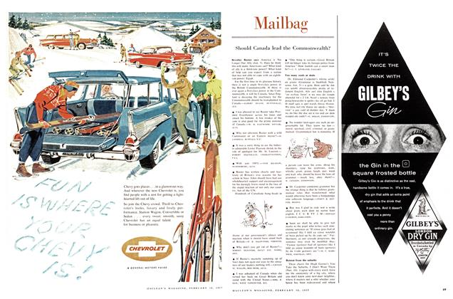 Article Preview: Mailbag, February 1957 | Maclean's