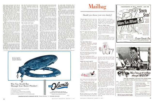 Article Preview: Mailbag, March 1957 | Maclean's