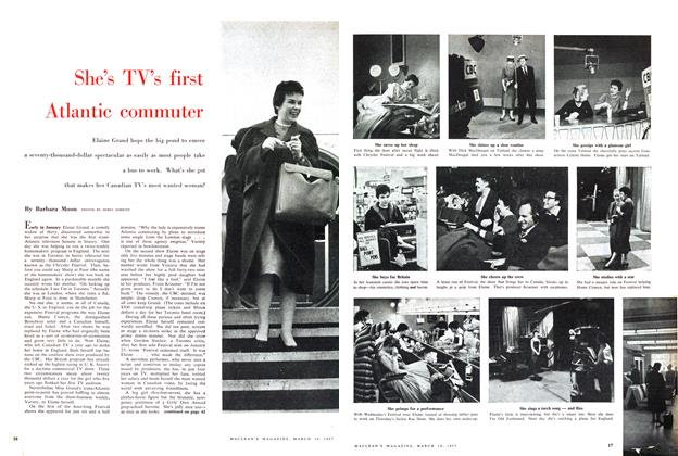 Article Preview: She's TV's first Atlantic commuter, March 1957 | Maclean's
