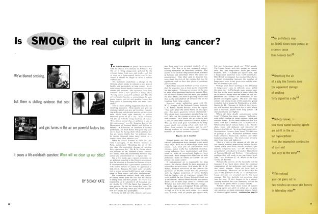 Article Preview: Is SMOG the real culprit in lung cancer?, March 1957 | Maclean's