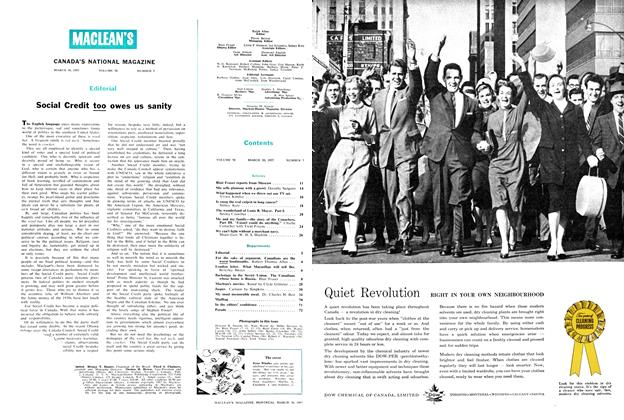 Article Preview: Social Credit too owes us sanity, March 1957 | Maclean's