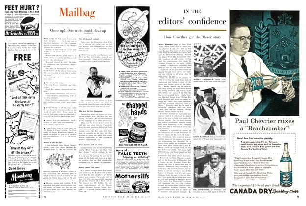 Article Preview: Cheer up! Our crisis could clear up, March 1957 | Maclean's
