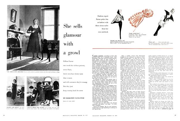 Article Preview: She sells glamour with a growl, March 1957 | Maclean's