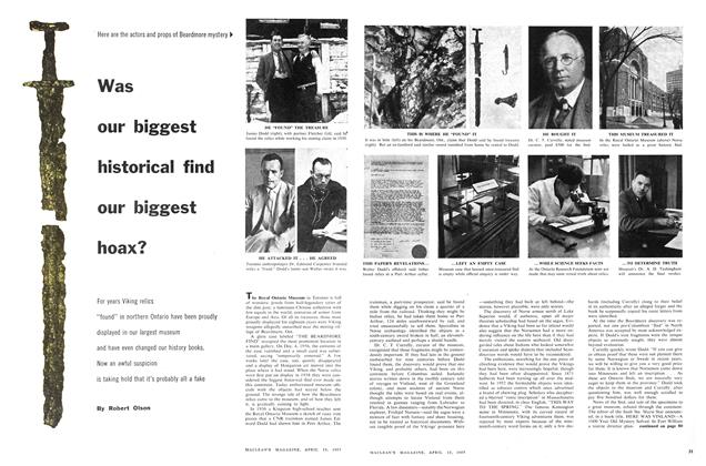 Article Preview: Was our biggest historical find our biggest hoax?, April 1957 | Maclean's