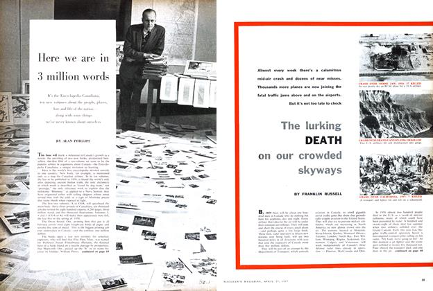 Article Preview: The lurking DEATH on our crowded skyways, April 1957 | Maclean's
