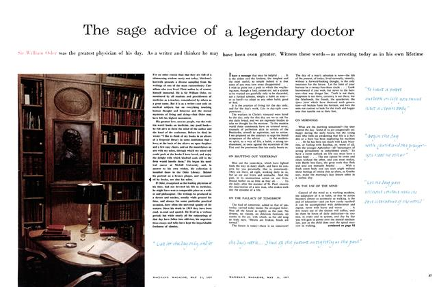 Article Preview: The sage advice of a legendary doctor, May 1957 | Maclean's
