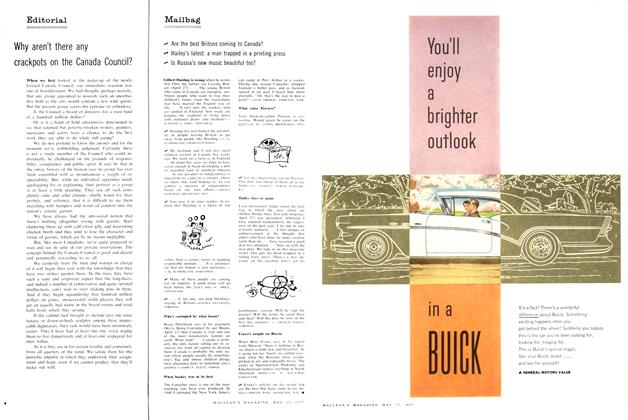 Article Preview: Mailbag, May 1957 | Maclean's