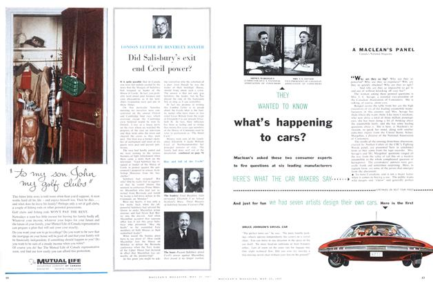 Article Preview: what's happening to cars?, May 1957 | Maclean's