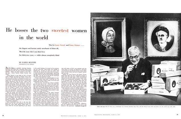 Article Preview: He bosses the two sweetest women in the world, June 1957 | Maclean's