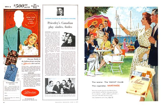 Article Preview: Priestley's Canadian play sizzles, fizzles, June 1957 | Maclean's
