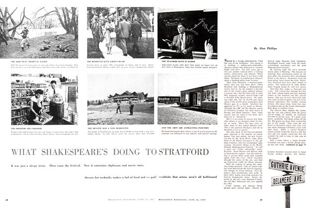 Article Preview: WHAT SHAKESPEARE'S DOING TO STRATFORD, June 1957 | Maclean's