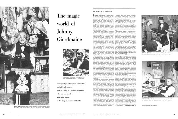 Article Preview: The magic world of Johnny Giordmaine, July 1957 | Maclean's