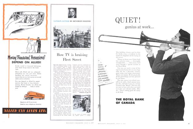 Article Preview: How TV is bruising Fleet Street, July 1957 | Maclean's