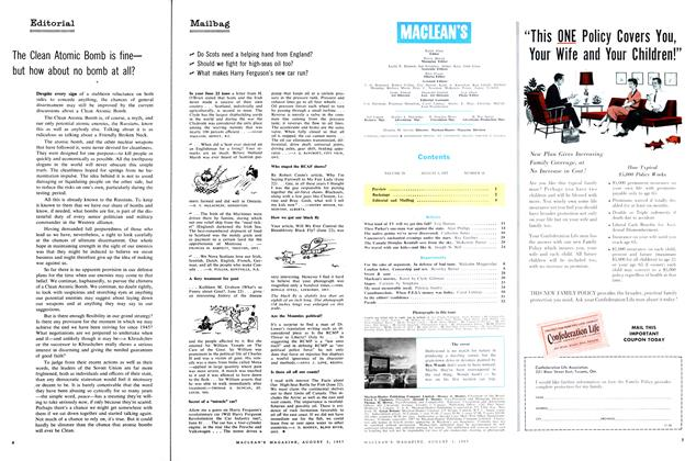 Article Preview: Contents, August 1957 | Maclean's