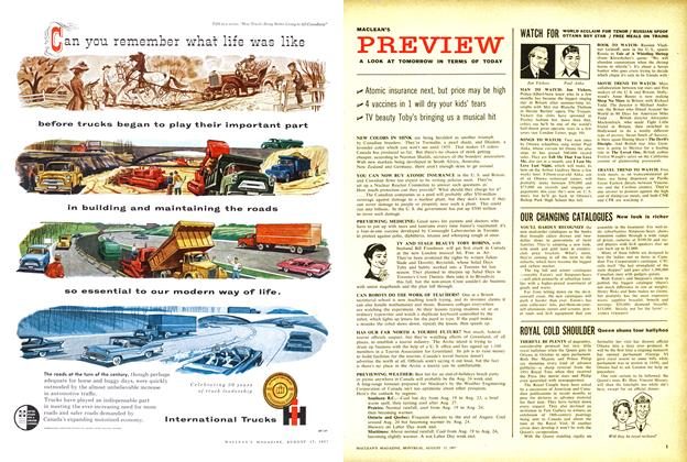 Article Preview: WATCH FOR, August 1957 | Maclean's