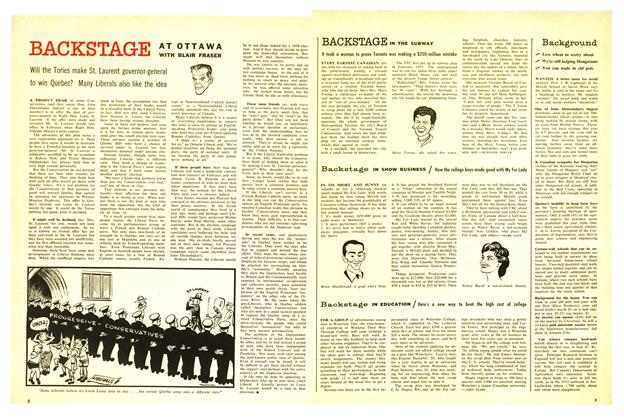 Article Preview: Backstage IN EDUCATION, August 1957 | Maclean's